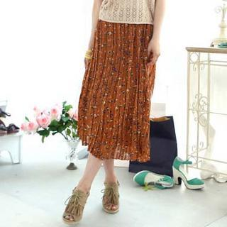 Floral Pleated Chiffon Skirt