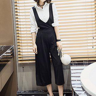 Cropped Wide Leg Pinafore Jumpsuit