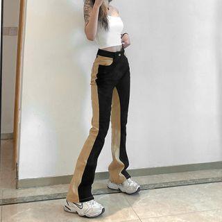 Two-tone Boot-cut Pants