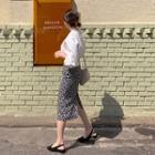 Slit-back Floral Print Skirt