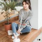 Embroidered Feather Pullover