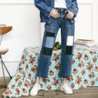 Patchwork Cropped Straight-leg Jeans