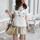 Floral Embroidered Eyelet-lace Top