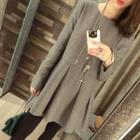 Plain Long Sleeve Pleated Mini Dress