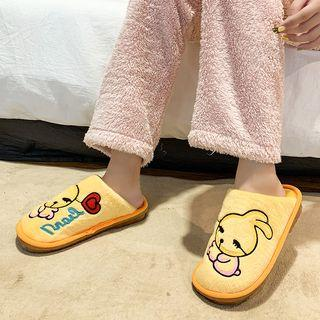 Rabbit Embroidered Furry Slippers