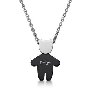 Shiny Bear Pendant With Necklace Silver & Ip Black- One Size