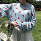 Dot Long-sleeve Knit Top