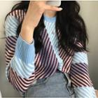 Color-block Geometric Sweater