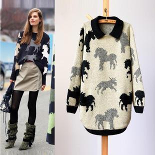 Horse Print Long Sweater