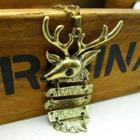 Christmas Deer Long Necklace -copper Copper - One Size
