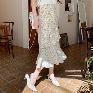 Ruffle-trim Midi Floral Skirt