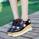 Faux-leather Patent Platform Oxford Shoes