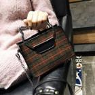 Wool Plaid Mini Shoulder Bag With Pouch