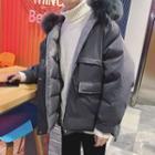 Faux Fur Trim Hooded Zip Padded Jacket