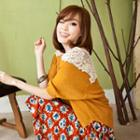 Elbow-sleeve Lace Panel Top