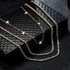 Rhinestone Layered Necklace C03101 - One Size
