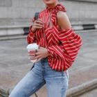 Striped One-shoulder Blouse