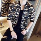Long-sleeve Camouflage Zip Jacket