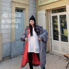 Hooded Shirred Fleece-lined Padded Coat