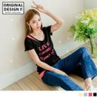 Short Sleeve Mock Two Piece Letter T-shirt