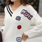 Distressed Patch-trim Sweater White - One Size