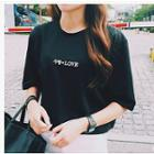 Elbow-sleeve Character Cropped T-shirt