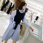 Set: Plain Shirt Dress + Knit Vest