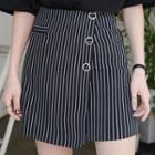 Striped Asymmetrical A-line Skirt