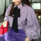 Bow Accent Plaid Blouse / Corduroy Pencil Skirt
