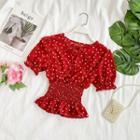 Puff-sleeve Dotted Smocked Blouse