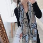 Printed Shawl Gray & Blue - One Size