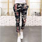 Drawstring-waist Printed Pants