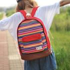 Striped Panel Canvas Backpack