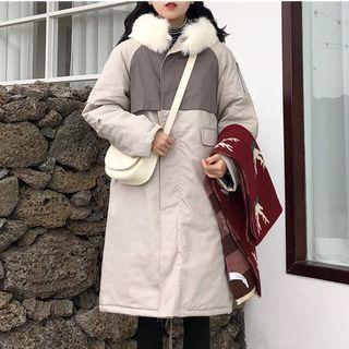 Color Block Hooded Padded Coat Gray Beige - One Size