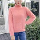Cut-out Shoulder Mock Neck Knit Top