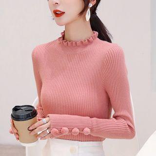 Long-sleeve Frill Trim Plain Knit Top