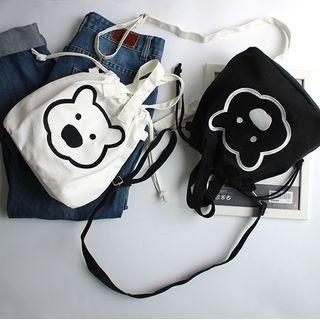 Bear Embroidered Drawstring Crossbody Bag
