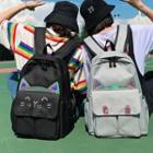 Cat Applique Canvas Backpack