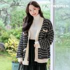 Metal-buttoned Oversized Tweed Cardigan Black - One Size