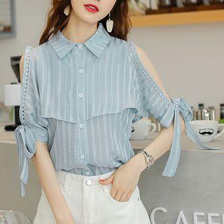 Cold Shoulder Striped Elbow-sleeve Top