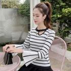 Bell-sleeve Cutout Striped Knit Top