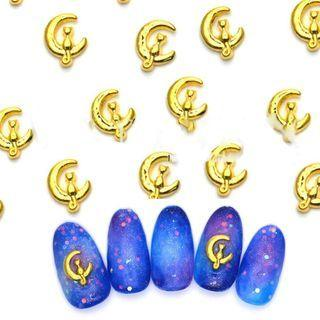 Metal Moon & Cat Nail Art Decoration 100 Pcs - Gold - One Size