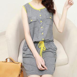 Sleeveless Drawstring-waist Dress