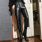 Inset Leggings Faux Leather Cropped Pants