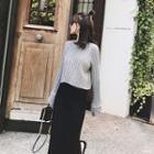 Set: Long-sleeve Cable Knit Sweater + Plain Pencil Midi Skirt