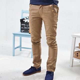 Buttoned Slim-fit Pants