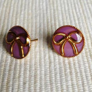 Resin Ribbon Earrings (purple) One Size