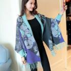 Patterned Fringed Open Front Cardigan