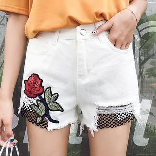 Mesh Panel Embroidered Denim Shorts