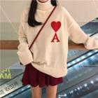 Turtleneck Heart Print Sweater